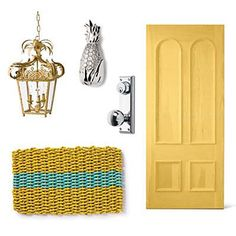 Key West Front Door Style | Taking cues from one of our favorite colorful coastal towns, we added a splash of sunshine to this entry. | SouthernLiving.com