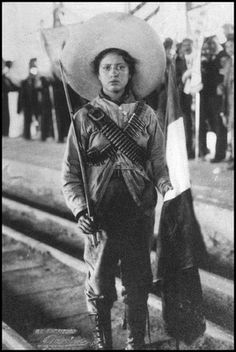 Adelitas or Soldaderas were women that took arms during the Mexican Revolutionary War.
