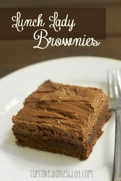 Lunch Lady Brownies #brownies #recipe - These are the BEST brownies I have ever had!! The frosting is amazing!! | CupcakeDiariesBlog.com