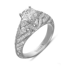 18k white gold and diamond ring with round-cut center stone, Vanna K