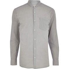 Grey grandad collar poplin shirt