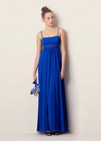 This spaghetti strap long chiffon dress has a beaded bust at the empire.   The chiffon drapes softly to the ground making this an easy-to-wear piece.  Wrap included.  Fully lined. Back zip. Imported polyester. Dry clean only.  Available in sizes 2-30.  Get inspired by our colors.  *SPECIAL VALUE! Was $155.00, Now $129.99!