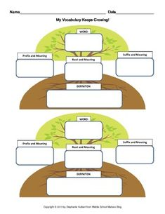 FREE My Vocabulary Keeps Growing! - Graphic Organize for Roots,