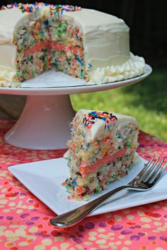Easy Funfetti Layered Birthday Cake - this looks like heaven!