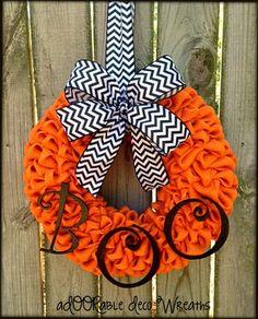 Orange Burlap Halloween Wreath by aDOORableDecoWreaths on Etsy