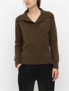 MM6 by Maison Martin Margiela Cropped Collar Sweater- Hunter collar sweater, crop collar