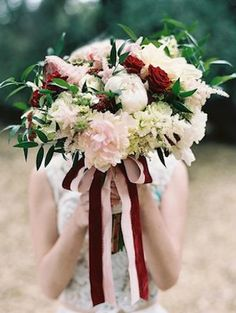 Red, white and blush bridal bouquet
