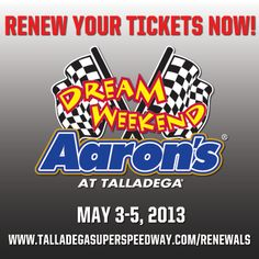 'DEGA Nation! Renew your tickets for the Aaron's Dream Weekend!     Renewal Deadline: December 7, 2012!     Call us --> 877.Go2.DEGA!