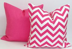 PINK PILLOW SET.18x18 inch.Chevron.Solid.Pillow Cover