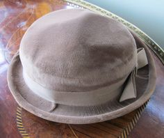 Ladies Light Brown or Tan Velvet Form-Fitting Derby Style Hat with Ribbon and Bow - Size Small - by Gementia13Jewels, $40.00