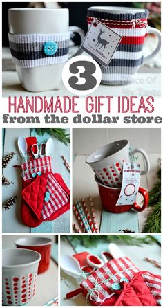 3 LAST MINUTE HANDMADE GIFTS FROM $1 STORE #handmadegifts #christmas #dollarstoregifts @placeofmytaste.com