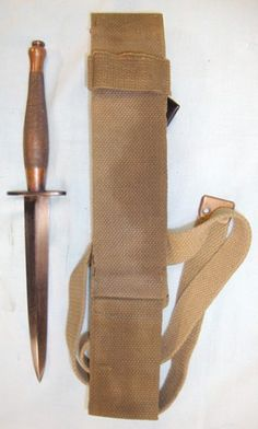 Original WW2 2nd Pattern (B2) Fairbairn- Sykes FS Commando Fighting Knife & WW2 1942 Australian Special Forces Jungle Equipment Webbing Scab...