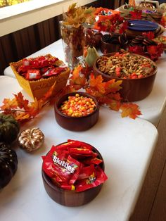 Fall party food and decor.