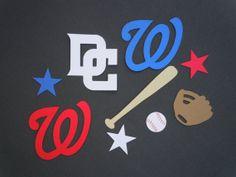 Washington Nationals Baseball Scrapbook Cutouts - 32 Piece Set by HookedonArtsNCrafts on Etsy