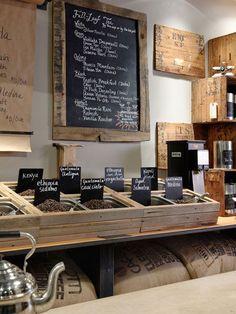 interior design, coffe shop, shop interiors, chalkboard signs, coffee beans, coffee shop design, store interiors, tea, barn wood