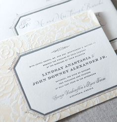 lace inspired letterpress invitation . gorgeous! idea, weddings, wedding invitations, letterpress invit, wedding stationery, fat cats, bridal shower invitations, paper planes, stationeri