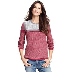 Tommy Hilfiger women's sweater. Our modern take on the Fair Isle sweater is styled slimmer than the classic original, distinguished by a unique intarsia knit.