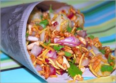 Bhel, a tangy, spicy Indian street snack. Perfect for gatherings with friends.