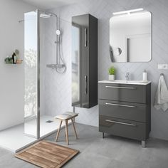 Mueble de baño FUSSION CHROME 700 3 cajones GRIS BRILLO 697 x 868 x 450 mm