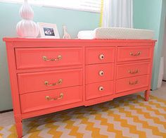 Baby Girl Nursery Ideas: Cool in Coral (via Parents.com) @Amanda Snelson Snelson Snelson-Andy George love this color!!