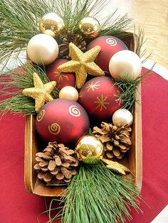 Quick Gilded Christmas- Use a metallic paint pen to dress up ornaments. pen, coffee tables, quick gild, gild christma, holiday idea, pine, christma ornament, christmas ornaments, christmas baskets