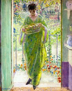 ⊰ Posing with Posies ⊱ paintings  illustrations of women  children with flowers - Frederick Carl Frieseke, The Kitchen Door, 1911