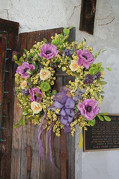 purpl anemon, wreath purpl, spring wreaths