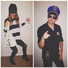 "Easy Halloween Costume - DIY Costume - Couples costume - Cop and robber <a class=""pintag searchlink"" data-query=""%23halloweencostume"" data-type=""hashtag"" href=""/search/?q=%23halloweencostume&rs=hashtag"" rel=""nofollow"" title=""#halloweencostume search Pinterest"">#halloweencostume</a>"