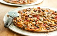 Mushroom and Tempeh Pizza // Serve these tasty pizzas with a Caesar salad on the side. Tempeh is a fantastic meat-substitute!