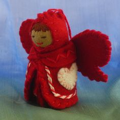 Valentine Heart Fairy Doll in Red and White Candy Stripes-- Waldorf Inspired  by Alkelda Dolls on Etsy