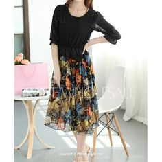 Wholesale Bohemian Scoop Neck 3/4 Sleeve Chiffon Printed Dress For Women (BLACK,S), Chiffon Dresses - Rosewholesale.com