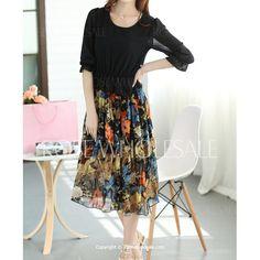 Wholesale Bohemian Scoop Neck 3/4 Sleeve Chiffon Printed Dress For Women (BLACK,S), Chiffon Dresses - Rosewholesale.com