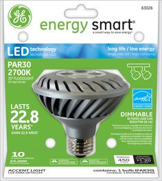 GE Energy Smart 45W Replacement (10W) PAR30 LED Bulb (Warm, Dim, Energy Star) $47.95