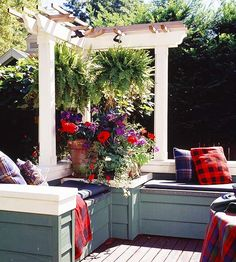 "Small Pergola  ""A pergola needn't be large or ornate to function as a design element. Relatively small in scale, this structure adds class to a corner of the deck."""