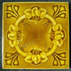 Antique Art Noveau Majolica Ceramic Tile - 1900