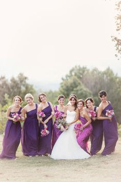 Bridesmaids Dresses: J.Crew -- See more here: http://www.StyleMePretty.com/southeast-weddings/2014/04/09/purple-southern-wedding-with-parisian-flare/ Photography: GlassJarPhotography.com