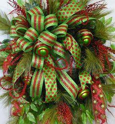XL Door Wreath Holly Jolly Christmas by LadybugWreaths, $249.97