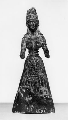 Anonymous (Minoan). 'Snake Goddess,' 1600 BC. black steatite. Walters Art Museum (23.196): Acquired by Henry Walters, 1929.