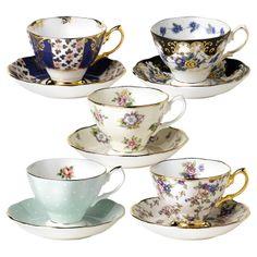 Centenaire Bone China Teacup & Saucer Set I (Set of 5) - Vibrant Victorian on Joss & Main