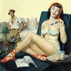 I sense a summer fling coming on! #vintage #painting #art #pinup #summer #romance