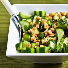 Thai Cucumber Salad with lime juice, fish sauce (yes, it's tasty!) & garlic.