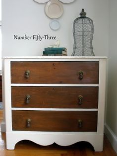 Just paint the frame and leave the drawers wood finished! Number Fifty-Three: $25 Refinished Antique Dresser