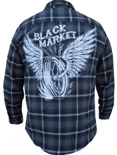 "Men's ""Wired"" Button Up Flannel by Black Market Art (Black/Charcoal) #InkedShop #blackmarket #plaid #shirt #menswear #mensclothing #wings"