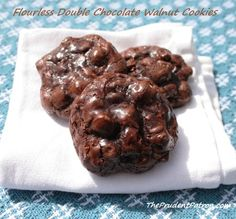 Flour less gluten free, dairy free double chocolate walnut cookies.