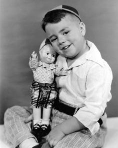 Spanky with a Spanky doll