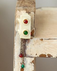A Cute Vintage Celluloid Stoplight Brooch. #vintage #jewelry #brooches #pins