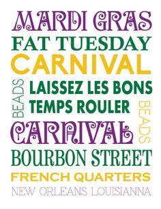 Mardi Gras subway sign- Mardi Gras Poster