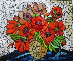 Stained Glass Mosaic Poppys in Yellow Vase  Wall by HildeMosaics, $58.00