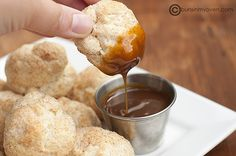 Cinnamon Biscuit Balls and Warm Caramel Sauce {recipe}
