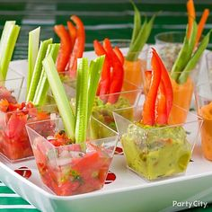 Add a tray of mini dips to your starting lineup of appetizers! Such a fun way to eat your veggies while cheering on your team.